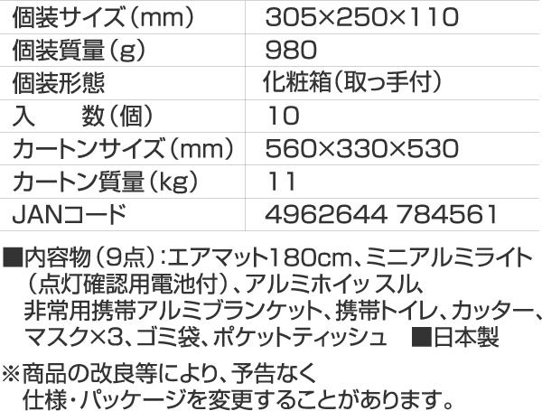 A4ファイルサイズ防災セット【ABO-59】